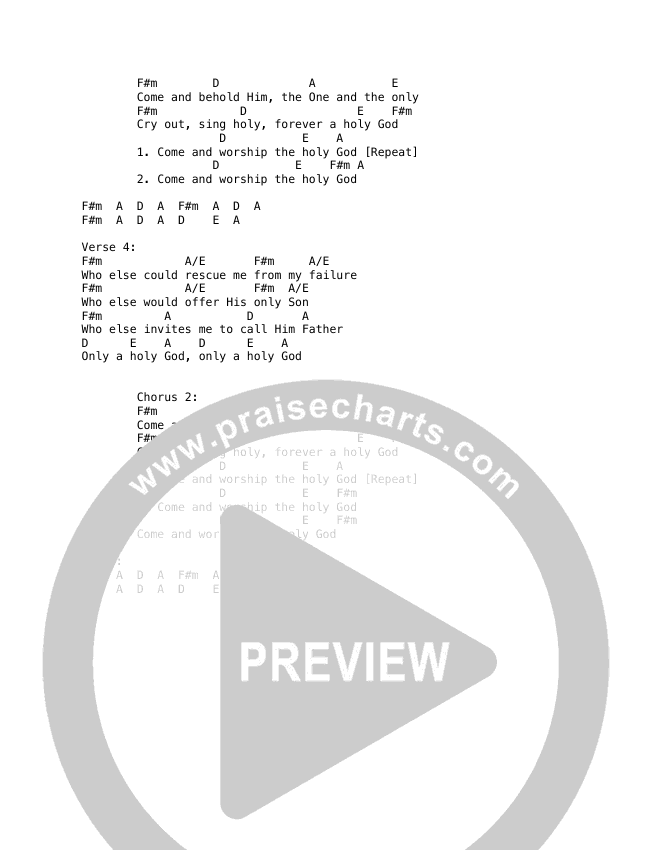 Only A Holy God Chord Chart (Here Be Lions / Dustin Smith)