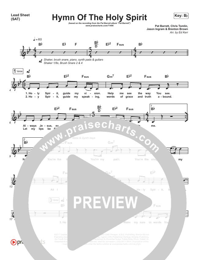 Hymn Of The Holy Spirit Lead Sheet (SAT) (Pat Barrett)