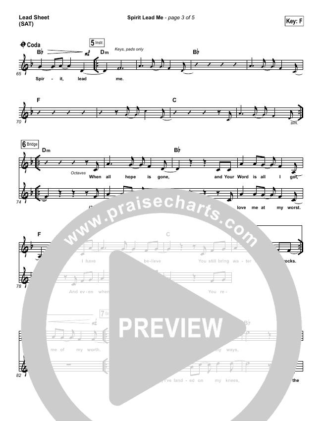 Spirit Lead Me Lead Sheet (SAT) (Influence Music / Michael Ketterer)