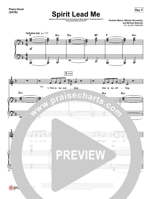 Spirit Lead Me Piano/Vocal (SATB) (Influence Music / Michael Ketterer)