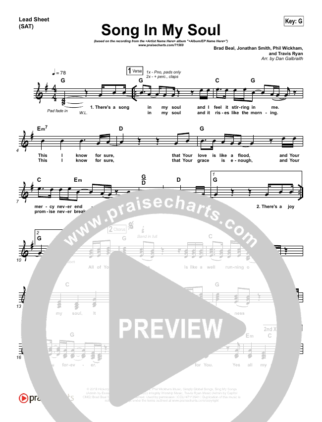Song In My Soul Piano Sheet (Phil Wickham)