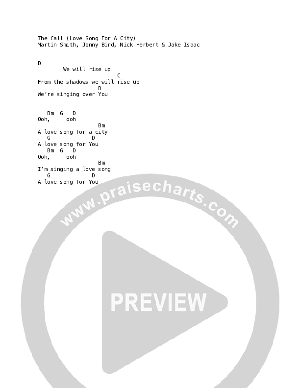 The Call (Love Song For A City) Chord Chart (Martin Smith)