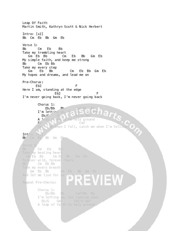 Leap Of Faith Chord Chart (Martin Smith / Holly Roe)