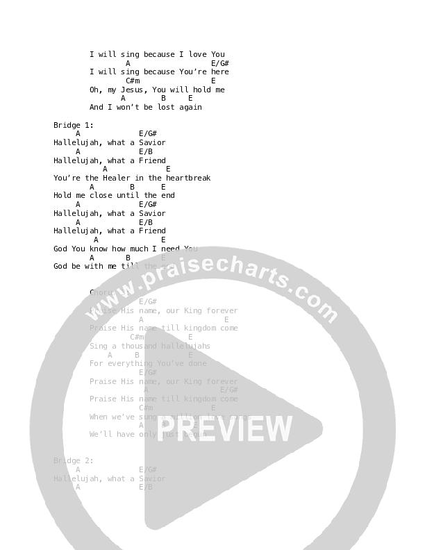 I Will Sing Chord Chart (Martin Smith)