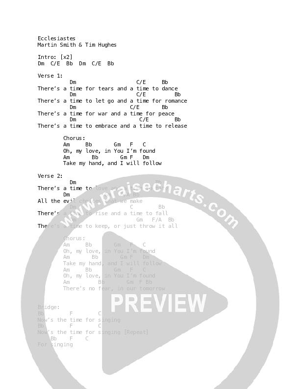 Ecclesiastes Chord Chart (Martin Smith)