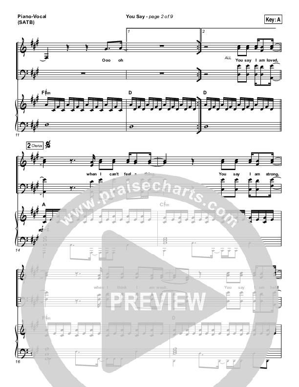 You Say Piano/Vocal (SATB) (Lauren Daigle)