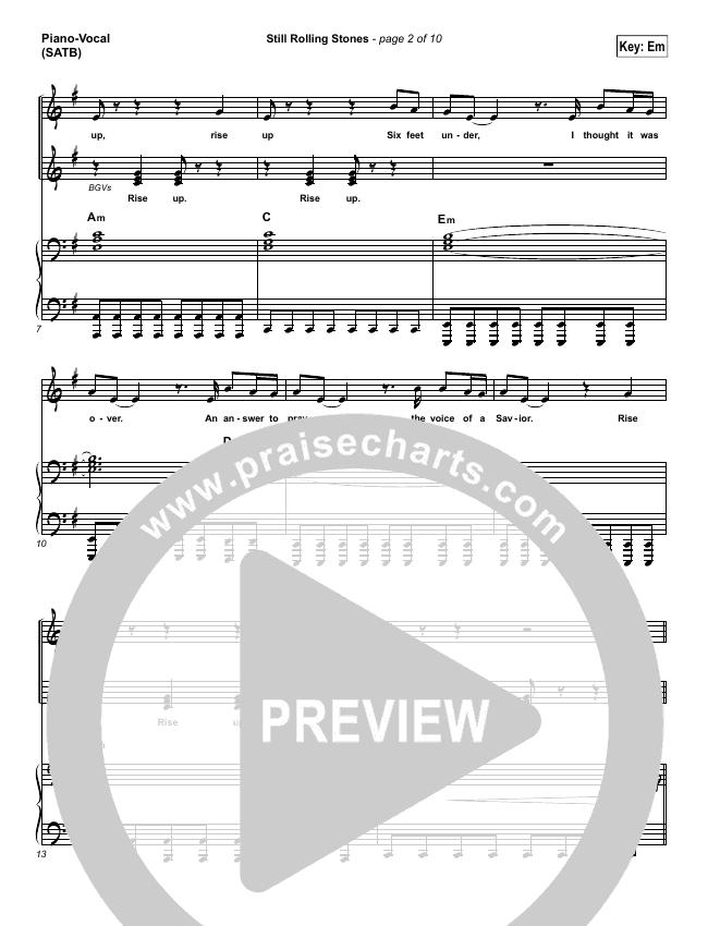 Still Rolling Stones Piano/Vocal (SATB) (Lauren Daigle)