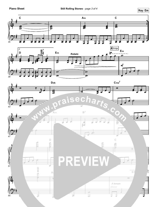 Still Rolling Stones Piano Sheet (Lauren Daigle)