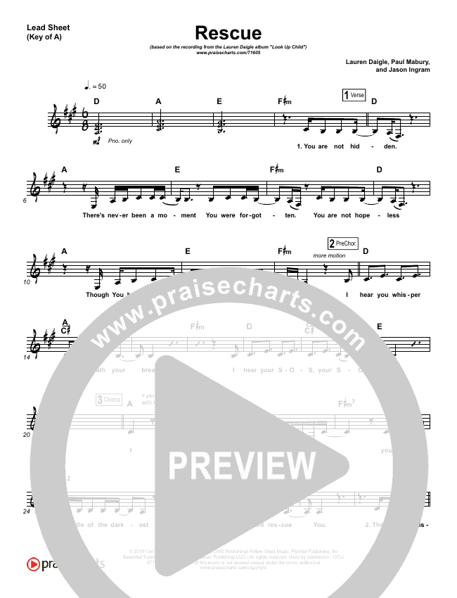 Rescue Lead Sheet (Melody) (Lauren Daigle)