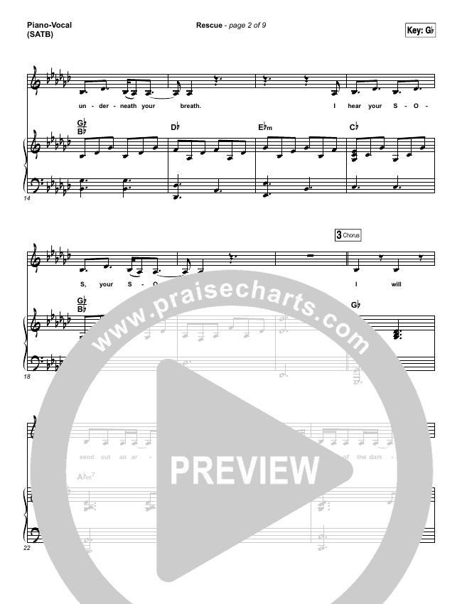 Rescue Piano/Vocal (SATB) (Lauren Daigle)