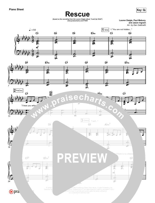 Rescue Piano Sheet (Lauren Daigle)