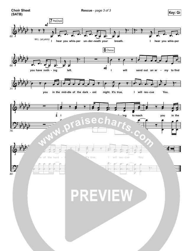 Rescue Choir Sheet (SATB) (Lauren Daigle)