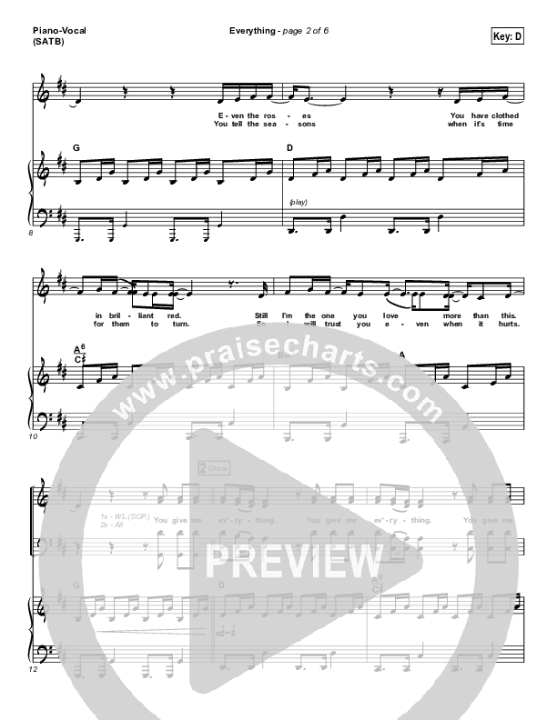 Everything Piano/Vocal (SATB) (Lauren Daigle)