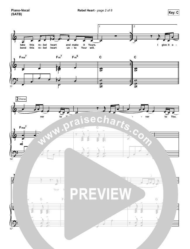 Rebel Heart Piano/Vocal (SATB) (Lauren Daigle)