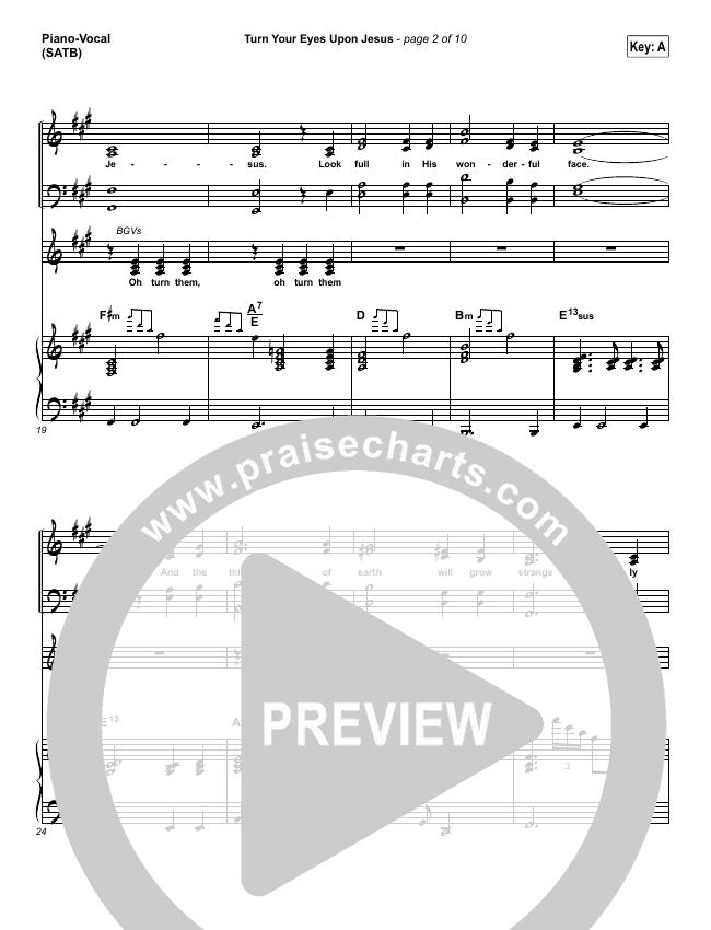 Turn Your Eyes Upon Jesus Piano/Vocal (SATB) (Lauren Daigle)