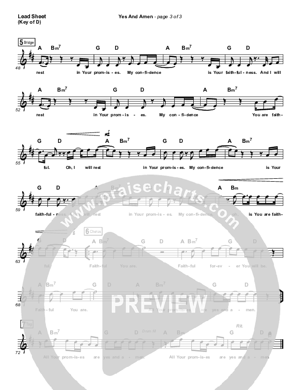 Yes And Amen Lead Sheet (Melody) (Jesus Culture / Chris McClarney)