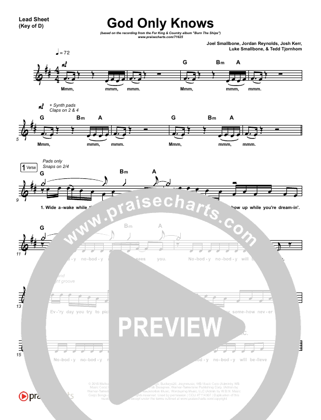 God Only Knows Lead Sheet (Melody) (for KING & COUNTRY)