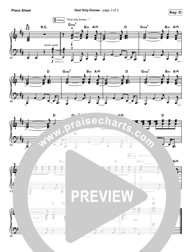 God Only Knows Piano Sheet (for KING & COUNTRY)
