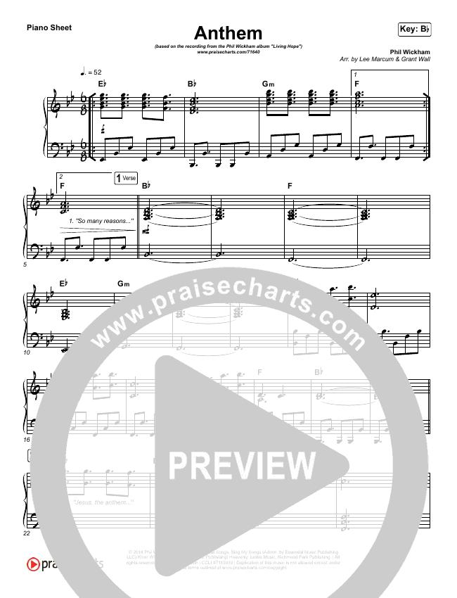 Anthem Piano Sheet (Phil Wickham)