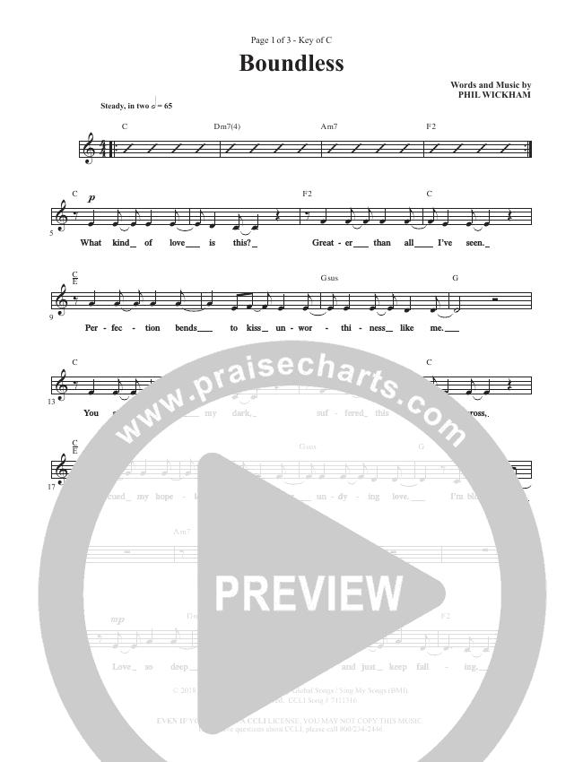 Boundless Lead Sheet (Phil Wickham)