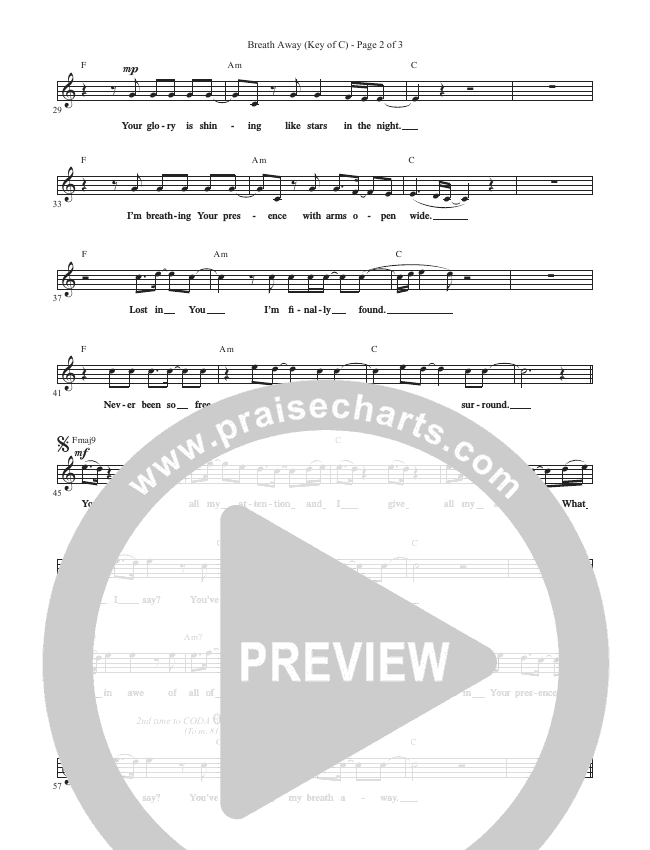 Breath Away Lead Sheet (Phil Wickham)