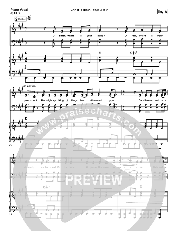 Christ Is Risen Piano/Vocal (SATB) (Phil Wickham)