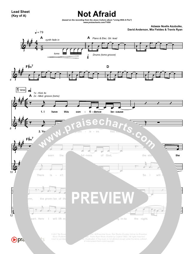 Not Afraid Lead Sheet (Melody) (Jesus Culture / Kim Walker-Smith)