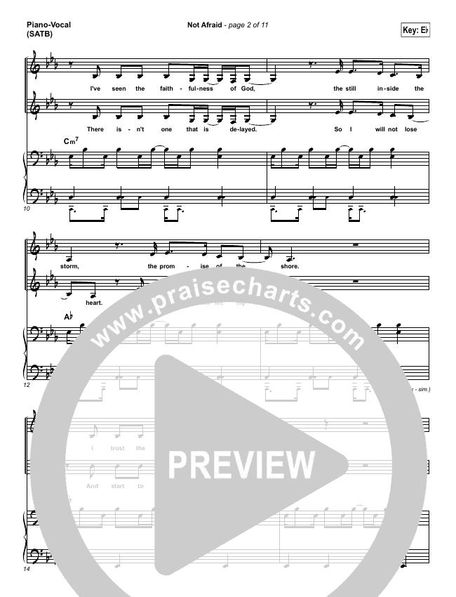 Not Afraid Piano/Vocal (SATB) (Jesus Culture / Kim Walker-Smith)