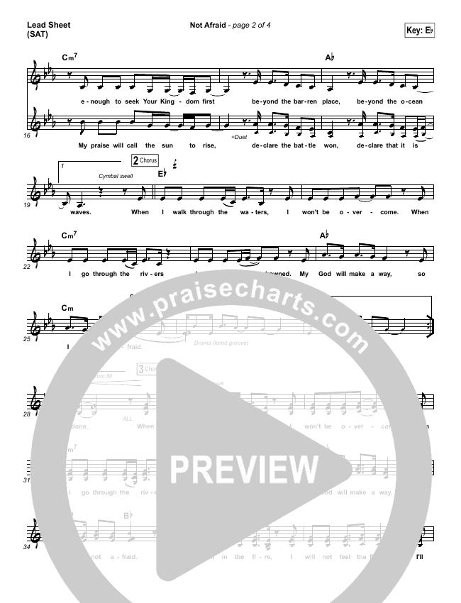 Not Afraid Piano/Vocal Pack (Jesus Culture / Kim Walker-Smith)
