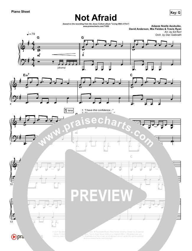 Not Afraid Piano Sheet (Jesus Culture / Kim Walker-Smith)