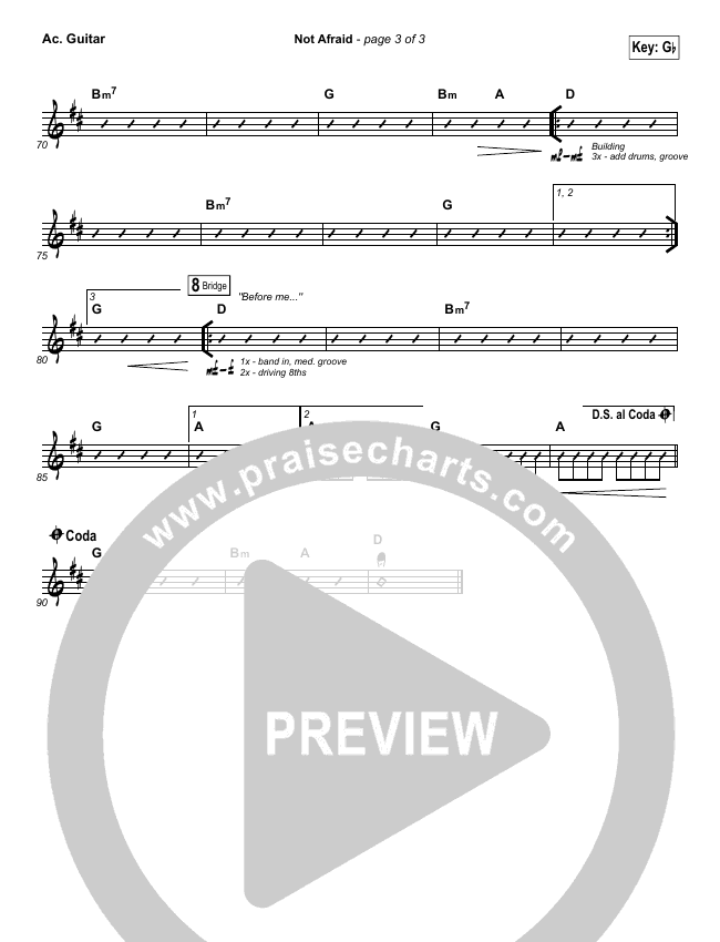 Not Afraid Rhythm Chart (Jesus Culture / Kim Walker-Smith)