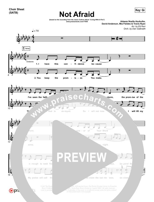 Not Afraid Choir Sheet (SATB) (Jesus Culture / Kim Walker-Smith)