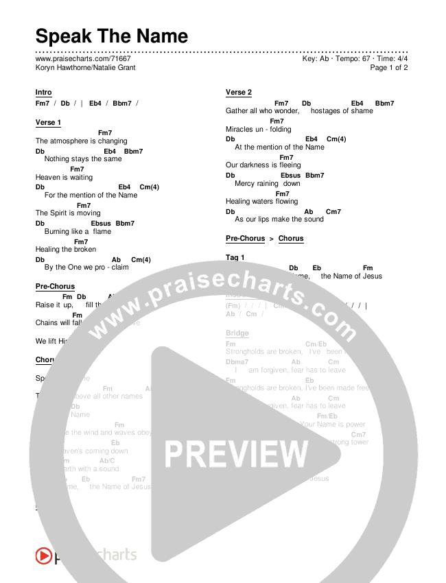 Speak The Name Chords & Lyrics (Koryn Hawthorne / Natalie Grant)
