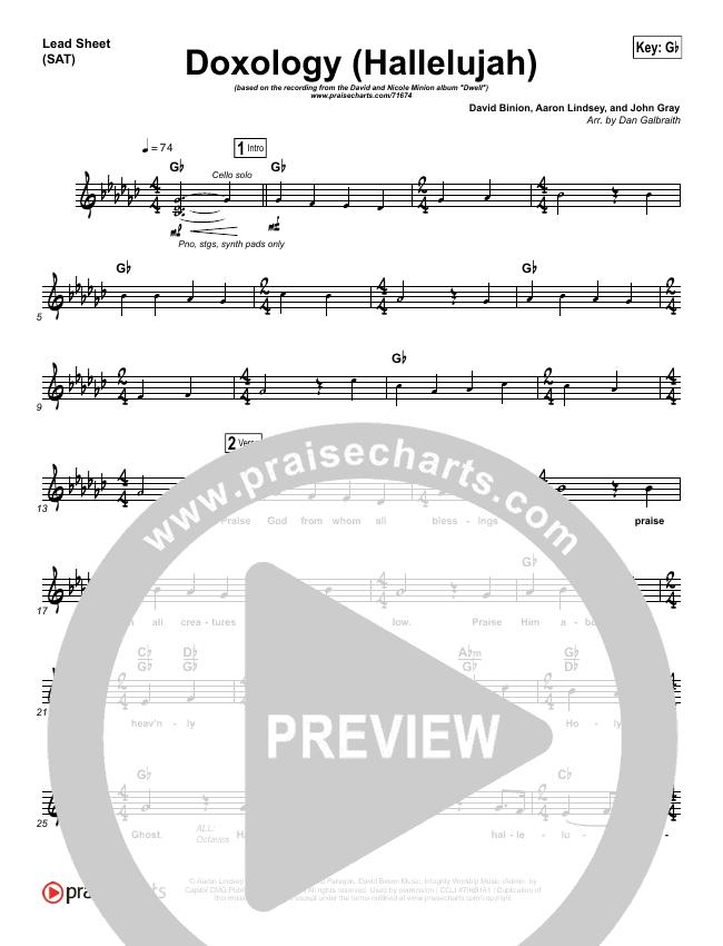 Doxology (Hallelujah) Lead Sheet (SAT) (David & Nicole Binion / Tasha Cobbs)