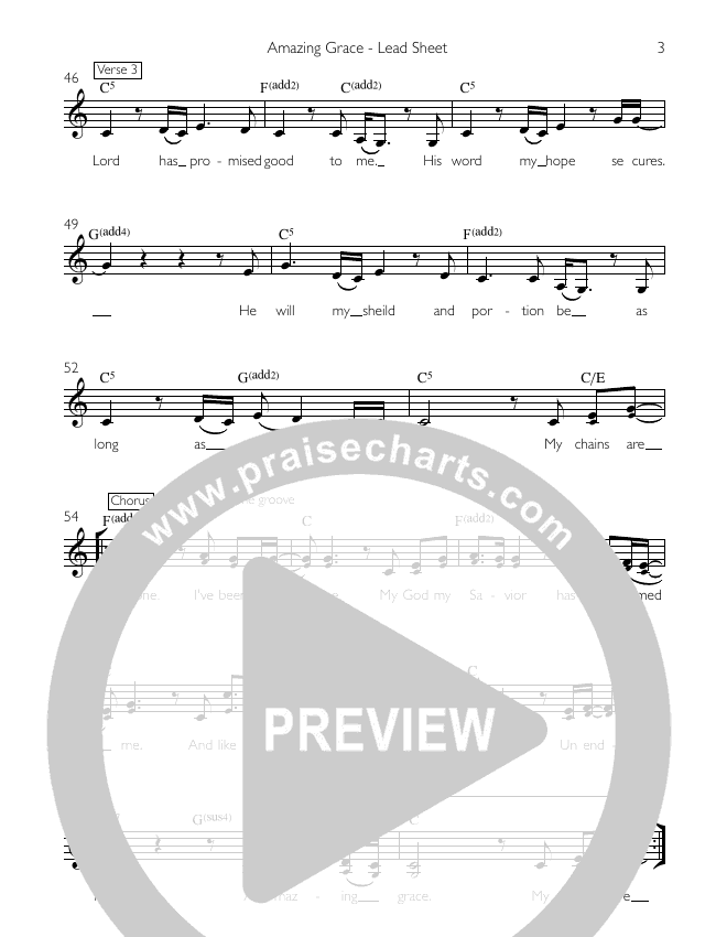 Amazing Grace (My Chains Are Gone) Lead Sheet (Kate White)