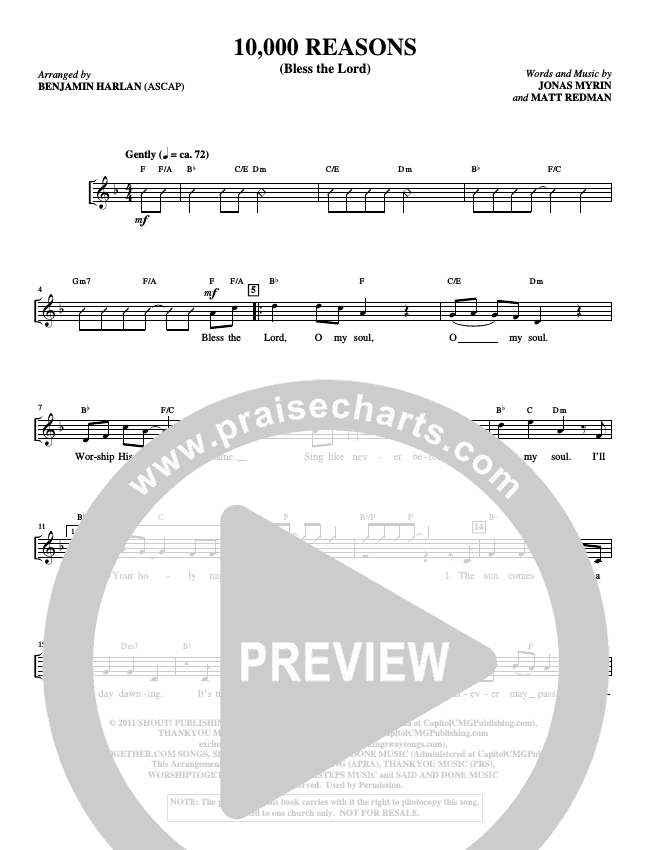 10000 Reasons (Bless The Lord) (Choral) Choir Sheet (SATB) (Alfred Sacred)