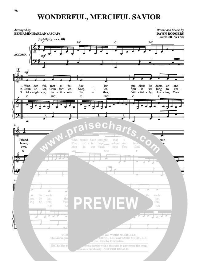 Wonderful Merciful Savior (Choral) Piano/Vocal (Alfred Sacred)