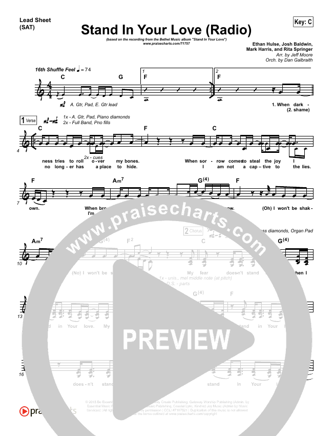 Stand In Your Love (Radio) Lead & Piano/Vocal (Bethel Music / Josh Baldwin)