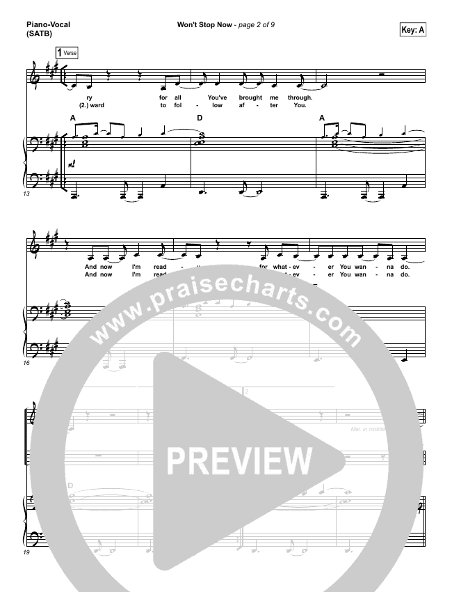 Won't Stop Now Piano/Vocal (SATB) (Elevation Worship)