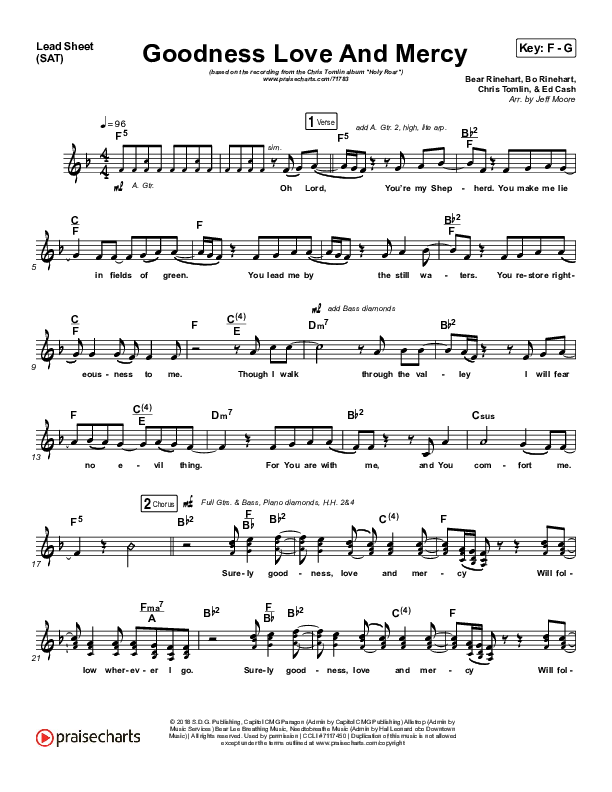 Goodness Love And Mercy Lead Sheet (SAT) (Chris Tomlin)