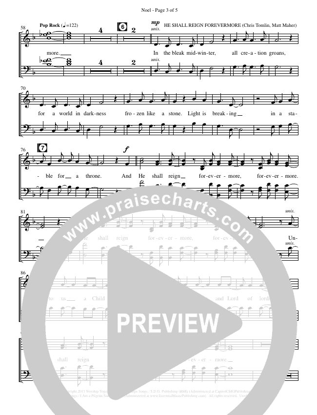 Noel (He Shall Reign Forevermore) (Choral) Choir Sheet (SATB) (Brentwood-Benson Choral / Arr. Bradley Knight)