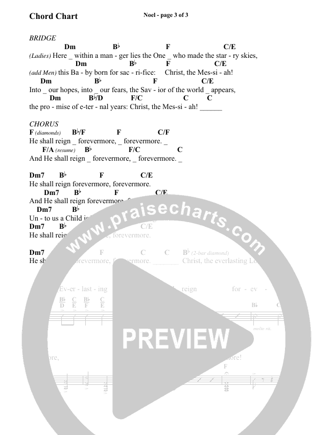 Noel (He Shall Reign Forevermore) (Choral) Chord Chart (Brentwood-Benson Choral / Arr. Bradley Knight)