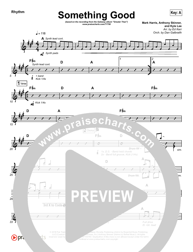 Something Good Rhythm Chart (Gateway Worship)