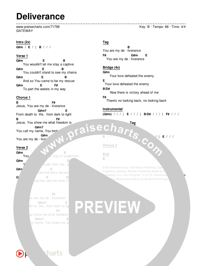 Deliverance Chords & Lyrics (GATEWAY)
