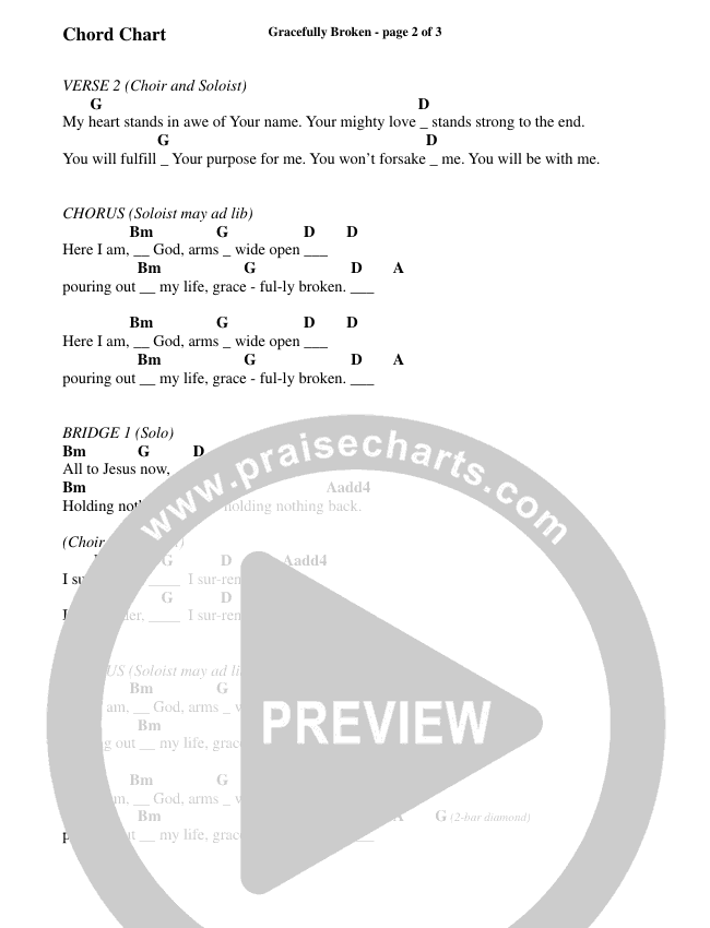 Gracefully Broken (Choral) Chord Chart (Brentwood-Benson Choral)