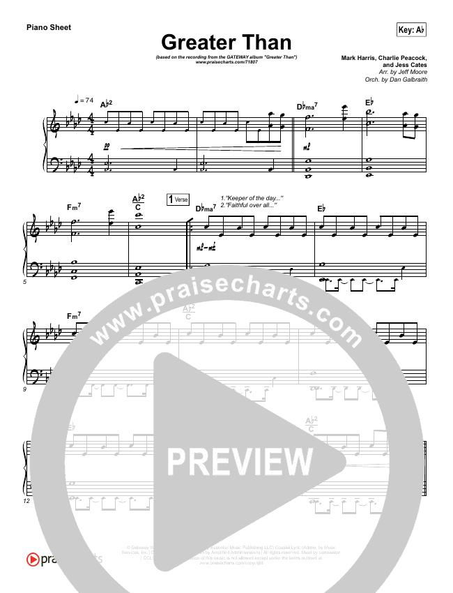 Greater Than Piano Sheet (GATEWAY)