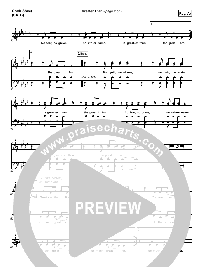 Greater Than Choir Sheet (SATB) (GATEWAY)