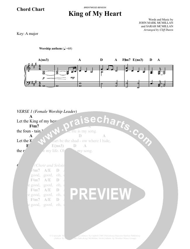 King Of My Heart (Choral) Chord Chart (John Mark McMillan / Sarah McMillan / Brentwood-Benson Choral / Arr. Cliff Duren)