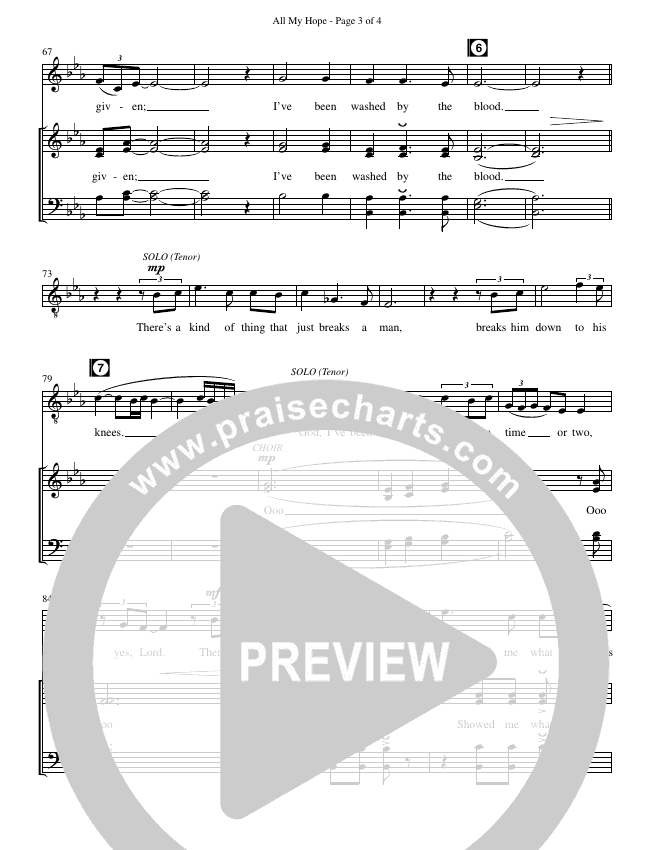 All My Hope (Choral) Choir Sheet (SATB) (David Crowder / Brentwood-Benson Choral / Arr. Kirk Kirkland, Daniel Bondaczuk)