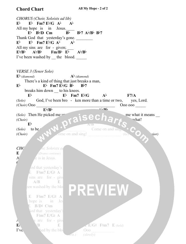All My Hope (Choral) Chord Chart (David Crowder / Brentwood Benson Choral / Arr. Kirk Kirkland, Daniel Bondaczuk)